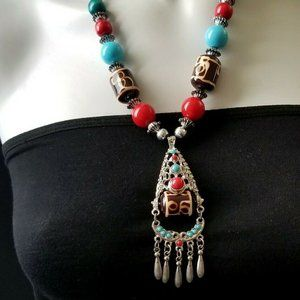 BOHO CHIC STATEMENT NECKLACE WOOD LUCITE EYE BEADS